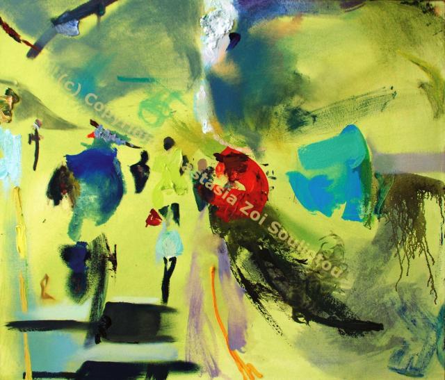 Anastasia Zoé SOULIOTOU, Bakerloo Turn, huile sur toile, 1.20 x 1m,2011