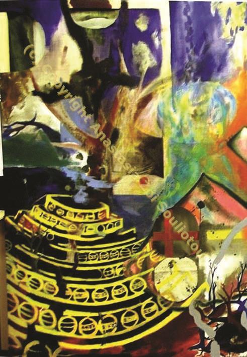 Anastasia Zoé SOULIOTOU, derrière le jaune, pigments sur toile, 1.20m x 1.80m, 2007