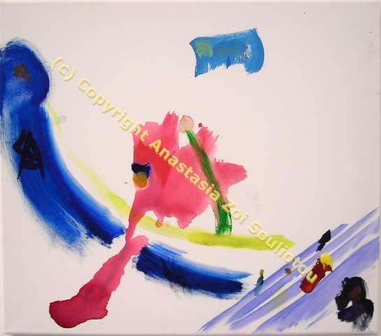 Αναστασία Ζωή Σουλιώτου, Συγχορδία κινήσεων, Ακρυλικά σε καμβά, 0.55 X 0.45 μ, 2011