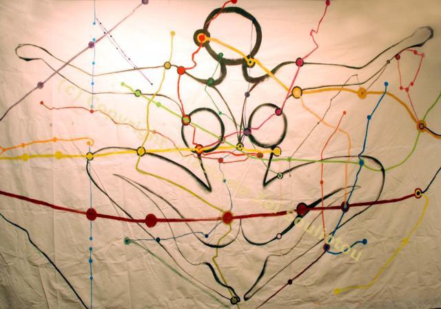 Anastasia Zoé SOULIOTOU, Île-de-Pachamama, gouache sur toile, 5m x 2.5m, 2013