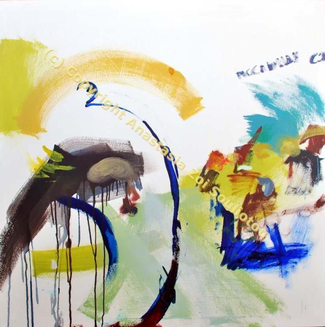 Anastasia Zoé SOULIOTOU PICCADILLY CIR Acrylique sur toile 1.21 X 1.21 m 2010