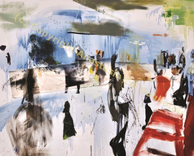 Anastasia Zoé Souliotou, Passagers sur la plateforme, 2m x 1.60m, huile sur toile, 2007
